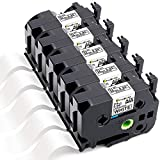 Greateam Compatible Label Tape Replacement for Brother 24mm TZe 1 inch P-Touch Label Tape TZe-251 TZ-251 Black on White Label Maker Tape Use for Brother PT-D600 PT-P700 PT-2730 PT-P750W ,5PK