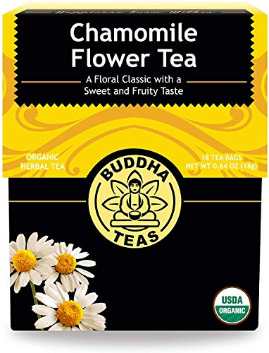 Organic Chamomile Flower Tea Leaves - Kosher, Caffeine-Free, GMO-Free - 18 Bleach-Free Tea Bags