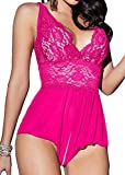 Yinggeli Womens Plus Size Lingerie V Neck Lace Sexy Babydoll Sleepwear S-3XL (Rose Red,XX-Large)