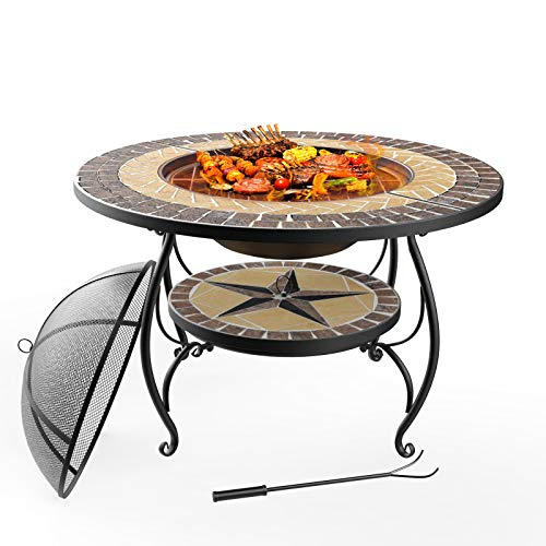 Mecor 3-in-1 Outdoor Fire Pit with Cooking Grate, 28' Mosaic Fire Pits Outdoor Wood Burning Steel BBQ Grill Firepit Bowl with Spark Screen Fireplace Cover Log Grate Fire Poker for Backyard Patio