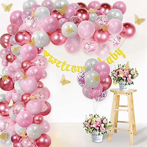 Unisun Kit de guirnalda de arco de globo, 135 globos de confeti...