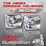 Optix H6054 H6052 H6014 7x6 Inch Sealed Beam Headlight - Clear Glass Diamond Cut Housing - H4 LED Conversion Kit 6000K Cool White 8000LM 80W
