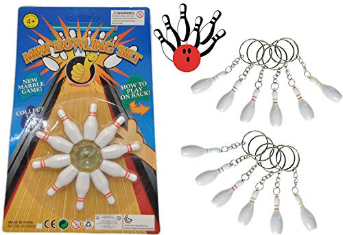 jameitop®Bowling Spiel 10 Pins + 1 Kugel + 12 Bowlingpin Schlüsselanhänger Set
