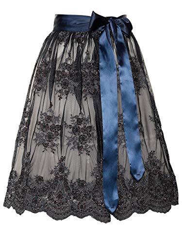 Marjo Dirndlschürze Gerlisa 58er 65er Länge dunkelblau Schürze Perlen Glitzer (dunkelblau 58er Länge, S)