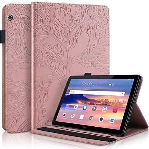 Ailisi Funda para Huawei MediaPad T3 10 (9,6 pulgadas), diseño de árbol, piel sintética, con ranuras para tarjetas, función atril, color rosa