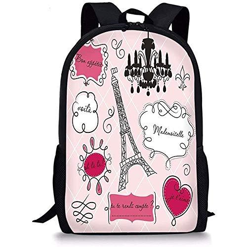 Hui-Shop Schultaschen Teen Room Decor, Gekritzelrahmen Französisch Stil Rokoko Barock Laterne Mademoiselle Hot Pink Schwarz für Jungen Mädchen