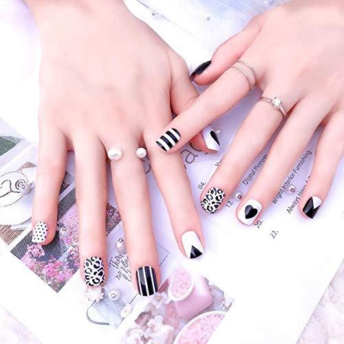 TJJF En gros 24 Pcs Dames Faux Ongles Avec De La Colle Clair Noir Blanc Stripe Designs Acrylique Ongles Artificiels Doigt Court Faux Ongles