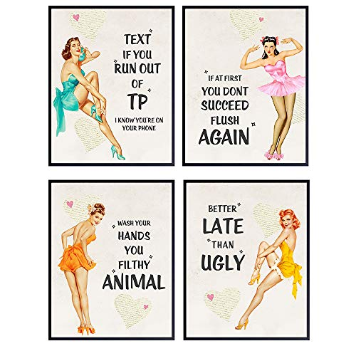 Pinup Girl Vintage Bathroom Wall Decor - Pin Up Wall Art - Funny Bathroom Quotes - Wash Your Hands You Filthy Animal…