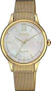 CITIZEN Womens Solar Powered Watch, Analog Display and Stainless Steel Strap - EM0812-89D