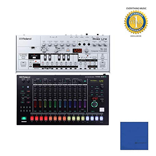 Learn More About Roland TB-03 Bassline Synth with Roland TR-8S Drum Machine with Microfiber and 1 Ye...