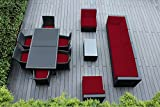Ohana Collection 14-Piece Sectional Sofa Furniture Set with Patio Cover, Sunbrella Red