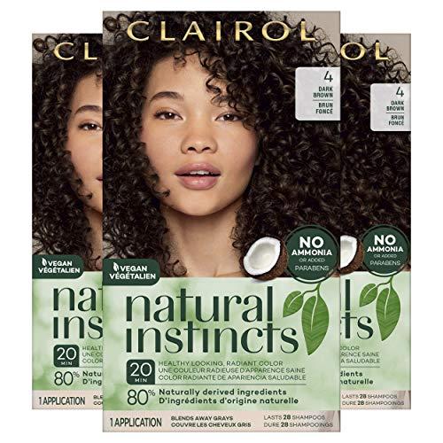 Clairol Natural Instincts Semi-Permanent, 4 Dark Brown, 3 Count