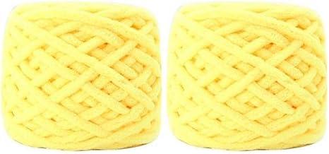2 stks DIY kleurrijke dikke wollen haak garen hand-gebreide trui sjaal hoed slippers breien bal draad naaimachine lijn-geel