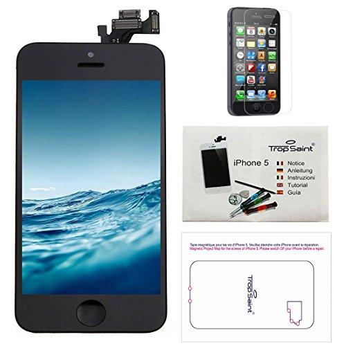Trop Saint Pantalla para iPhone 5 Negro - Kit de reparación LCD Completo - con Guía 5 lenguas, Superficie de Trabajo magnética, Herramientas y Film Protector Pantalla
