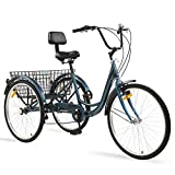 Ey Adult Tricycle, 3 Wheel Bike Adult, Three Wheel Cruiser Bike 24 26 inch Wheels with Basketball, 7 Speed, Adjustable Seat and Handlebar, Multiple Colors