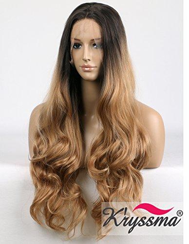 K'ryssma Blond Lang Perücke Braun Blond Ombre Wavy Wig Synthetic Haar Wavy Blond Perücke Half Hand Tied 24 inch