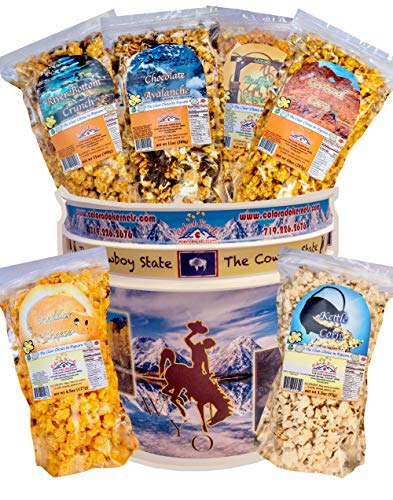 Popcorn by Colorado Kernels Popcorn Delights   CELEBRATE WYOMING THE COWBOY STATE 3.5 Gal Bucket with 6 resealable bags   Kettle Corn, Cheddar Cheese, Caramel, Chocolate, Almonds/Pecans, Buffalo Ranch