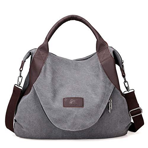 Vintage Casual Canvas Frauen Tasche, einzelne Schulter Umhängetasche, große Kapazität Frauen einfache wilde Casual Tasche, 50x43x13cm, zum Einkaufen, Feiern...