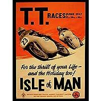 Advert Transport Tt Races Bikes Isle Of Man Tt Races 1967 Art Print Poster Wall Decor 12X16 Inch 広告輸送レース自転車島レースポスター壁デコ