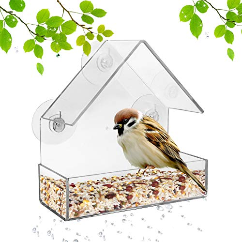 Window Bird Feeder with Strong Suction Cups, Acrylic Kitchen Bird Feeder Triangle Hanging Birdhouse Suction Bird House Feeder for Cardinals, Blue Jays, Finches, Chickadees, Nuthatches (Triangle Roof)