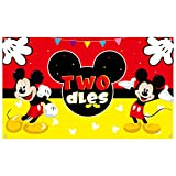 Haooryx Mickey Twodles Birthday Party Supplies Decorations, Fabric Banner Backdrop for Baby Two Years Old 2nd Birthday Background -72.8 x 43.3 inch