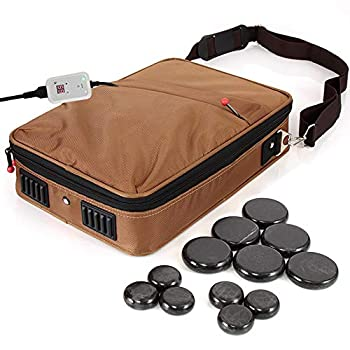 SereneLife Portable Hot Stone Massage Warmer Set & Spa Kit with Temperature Control LCD Display 6 Small and 6 Large Round Basalt Stones Brown