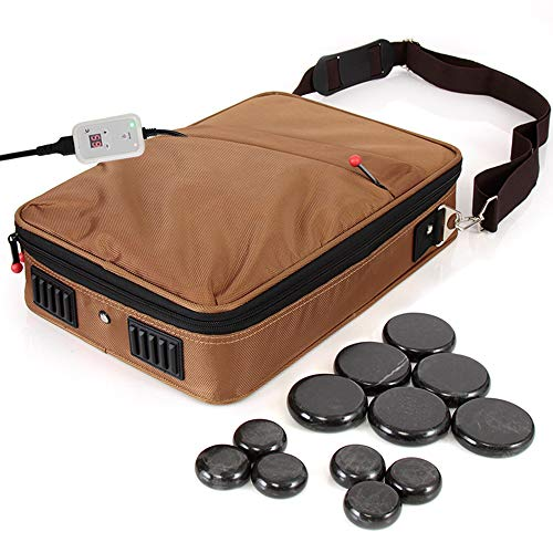 SereneLife Portable Hot Stone Massage Warmer Set & Spa Kit with Temperature Control, LCD Display, 6 Small, and 6 Large Round Basalt Stones, Brown