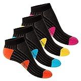 Footstar 4 Paar STRESS FREE Sneaker Socken Schwarz-Bunt - 35-38