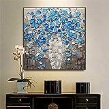 Pinturas al Óleo sobre Lienzo Pintada a Mano,Flor azul abstracta en diseño de patrón de florero, arte de pared, carteles vintage, cuadros de pared, pintura moderna para sala de estudio, s-60x60cm