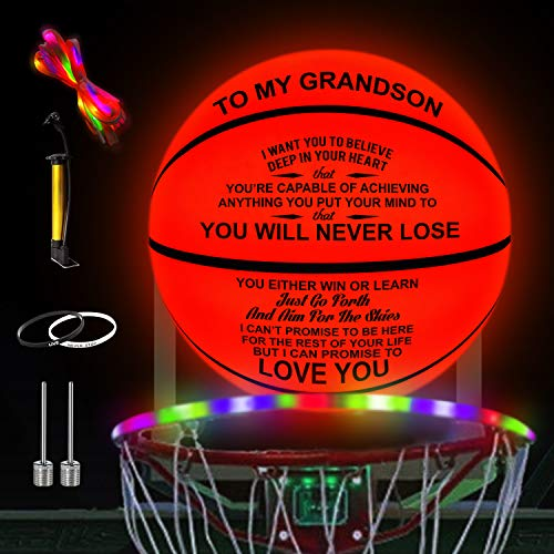 Kenon Customized Engraved Light Up Led Basketball - You Will Never Lose (for Grandson)