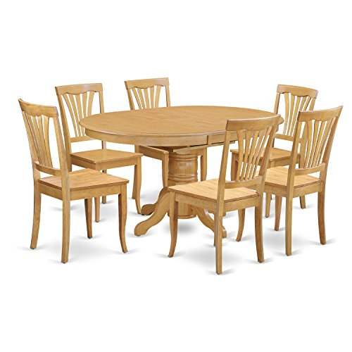 AVON7-OAK-W 7 PcKitchen Table set - Dinette Table and 6 Dining Chairs