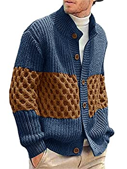 Pengfei Men s Stylish Stand Collar Cable Knitted Button Shawl Chunky Casual Cardigan Sweater Blue