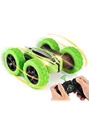 RILLATEK-AE RC Cars, Remote Control Car 4WD Strong Power Double Sided 360 Rotating Tumbling Stunt Car Toy, 2.4GHz RC Truck with LED Headlights, Great Gifts Remote Car for Boys Girls Kids