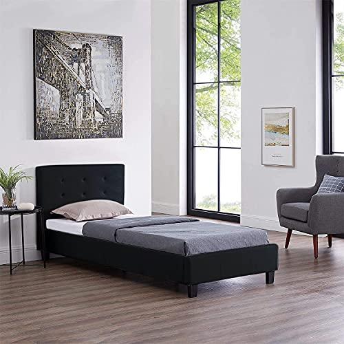 Sensoreve-Cama de matrimonio de 90 x 190 cm con somier de 1 plaza y 1 persona, cabecero acolchado tapizado en piel sintética (negro)