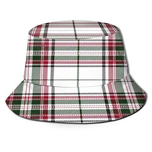 Sombrero de Pesca,Tela Escocesa de tartán Rojo Verde Tradicional escocés,Senderismo para Hombres y Mujeres al Aire Libre Sombrero de Cubo Sombrero para el Sol