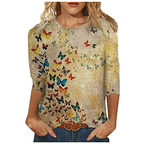 N\P Camisetas de mujer Primavera Impreso Mangas Largas Cuello Redondo Casual Camisetas Tops
