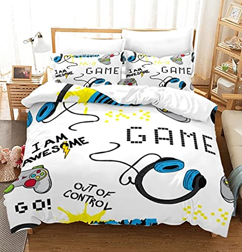 ysldtty Bedding Sets 3D Print Gamer Duvet Cover Cartoon Gifts Bed Set 3 Pcs Quilt Comforter Covers Home Textiles P0598W 135CM x 200CM With 2 pice pillowcase 50CM x 75CM