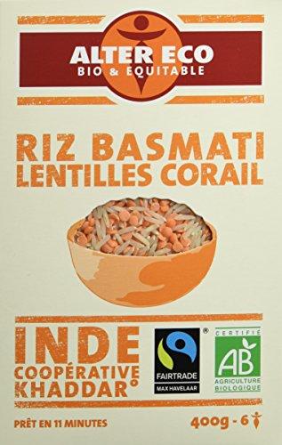 Alter Eco Riz Basmati aux Lentilles Corail Bio et Equitable 400 g - Lot de 4