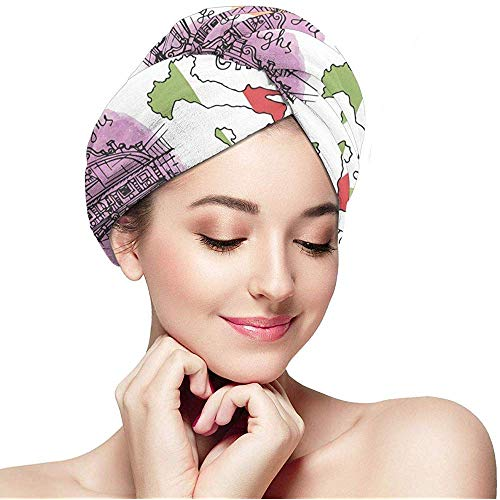 Weiping shop Italy Famous Landmark with Watercolor Textured Splash Microfiber, Fast Drying Hair Towel with Button Wrap Turban