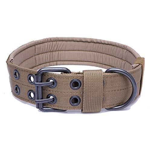 1PC Military Tactical verstellbares Hundetrainingshalsband Nylonleine Metallschnalle-Dark Khaki_XL