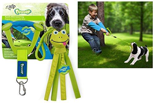 ALL FOR PAWS Zieh- und Zerrspielzeug Hundespielzeug grüner Frosch mit Gummiband und Handgriff