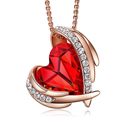 Heart Pendant and Necklace made with Swarovski Crystal…(Red, 18ct Rose Gold)