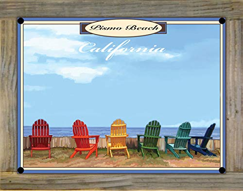 Northwest Art Mall Pismo Beach, Claifornia Adirondack Chairs Metal Print on Reclaimed Barn Wood from Alla Prima Painting by Artist Joanne Kollman 9' x 12'