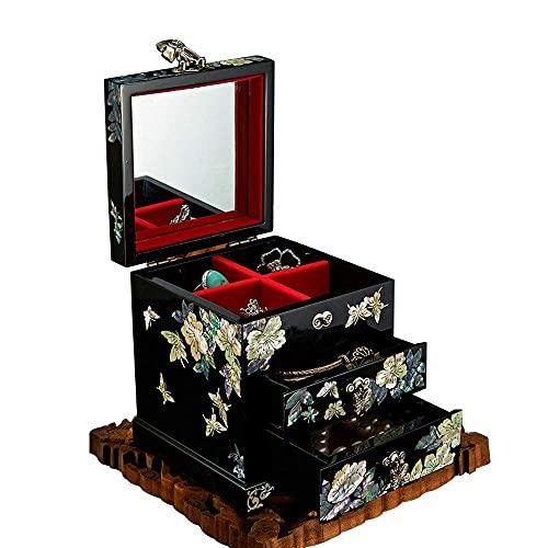 WOZUIMEI Caja de Almacenamiento de Joyería Caja de Joyería de Madera Maciza Caja de Joyería de 3 Capas Caja de Almacenamiento Caja de Almacenamiento Pendiente Pulsera Anillo