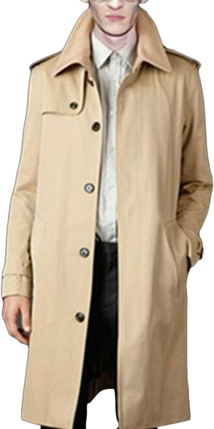 Cromoncent Mens Big Tall Casual Solid Outwear Single Breasted Trench Coats