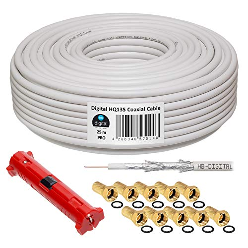 HB-DIGITAL HQ-135 PRO Cable coaxial SAT de 25m 135dB 4 veces apantallado incl. stripper y 10 conectores F chapados en oro Cable de antena DVB-S / S2 / S2X DVB-C y DVB-T / T2 UHD 4K Full HD 3D