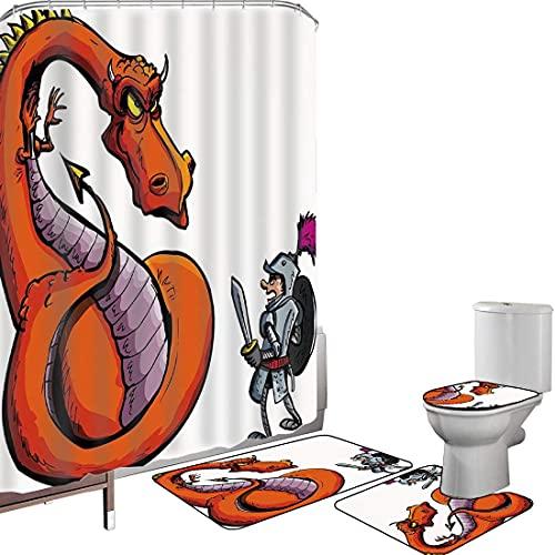 Duschvorhang Set Badezimmerzubehör Teppich Drachen Badematte Contour Teppich Teppichbezug Karikatur eines Ritters,der eine heftige Feuerspuckencharakter-mittelalterliche Spaß-Skizze,Mehrfarben gegenüb