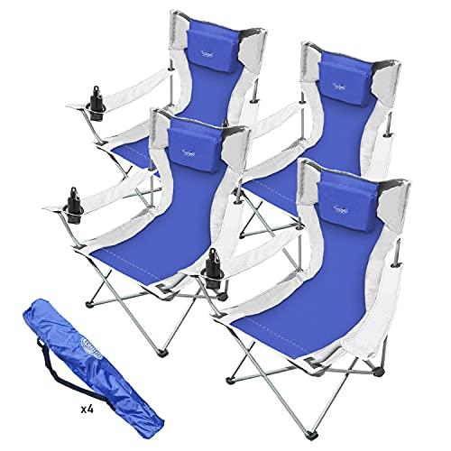 Silla de camping plegable, silla portátil ultraligera con porta bebidas, bolsa de transporte, silla de playa, piscina, picnic, pesca, jardín, senderismo (4)
