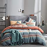 Joyreap 3pcs Luxury Washed Cotton Comforter Set King, Rainbow Gray Colorful Stripes Design, Smooth Soft Warm Comforter for All Season- 90x102 inches