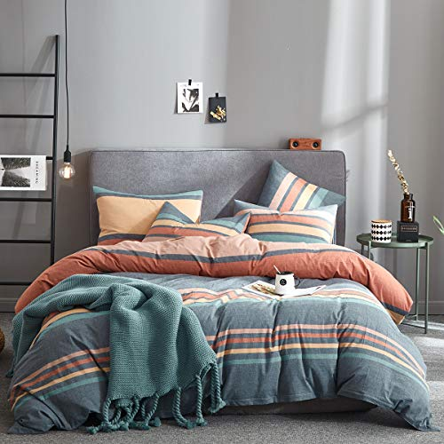 Joyreap 3pcs Luxury Washed Cotton Comforter Set Queen, Rainbow Gray Colorful Stripes Design, Smooth Soft Warm Comforter for All Season- 88x88 inches